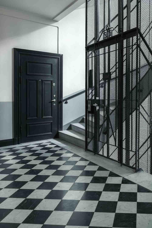 Trapphusmåleri utfört av Stork Housing för BRF Muttern 9 i Stockholm